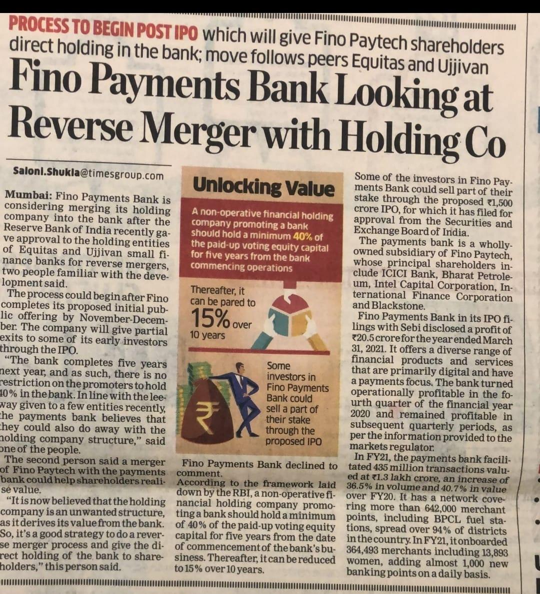 Fino Paytech News 30th August 2021