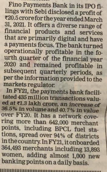Fino Paytech News - 30th August 2021