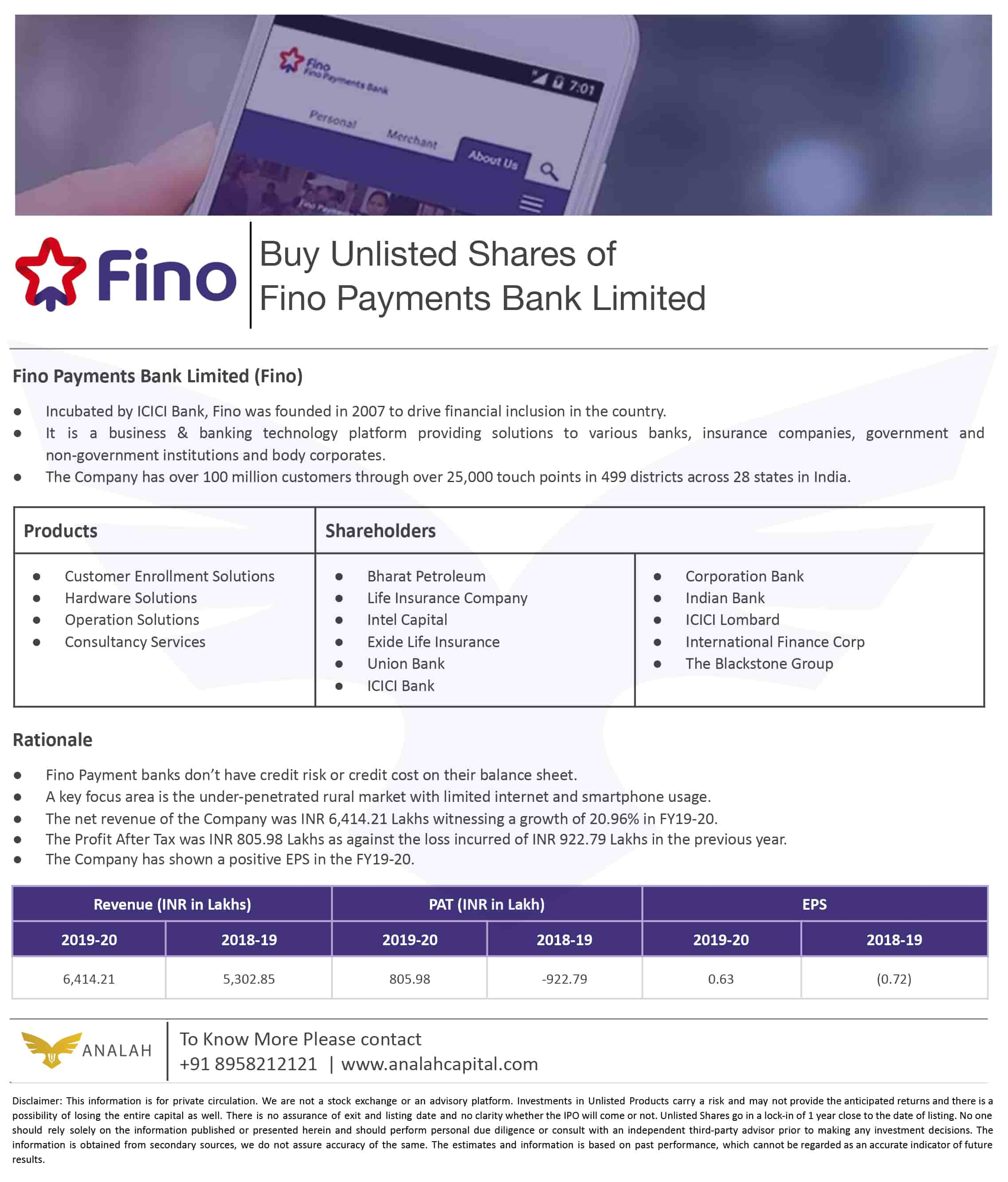 Fino Payment Bank Unlisted Shares