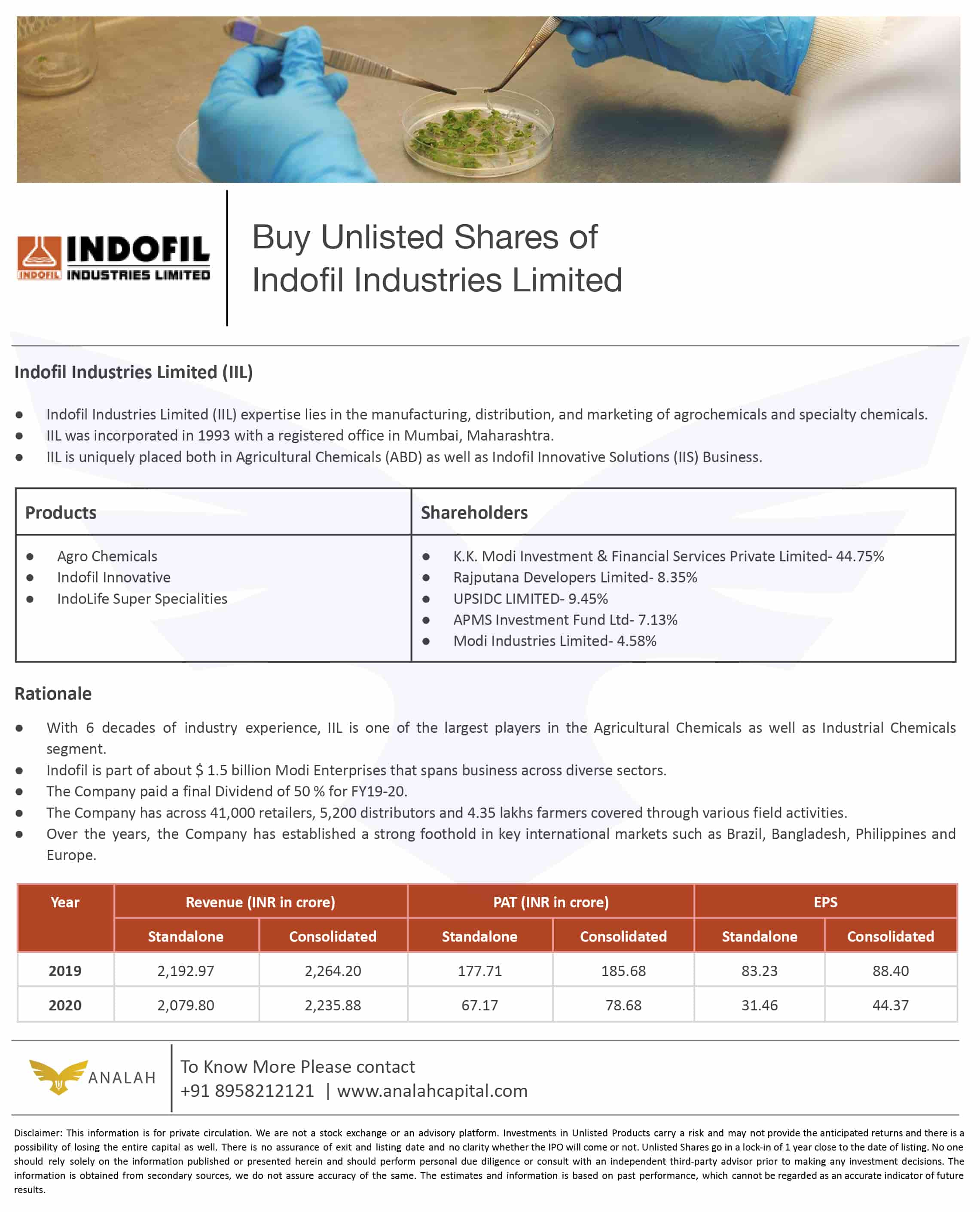 Indofil Industries Unlisted Shares