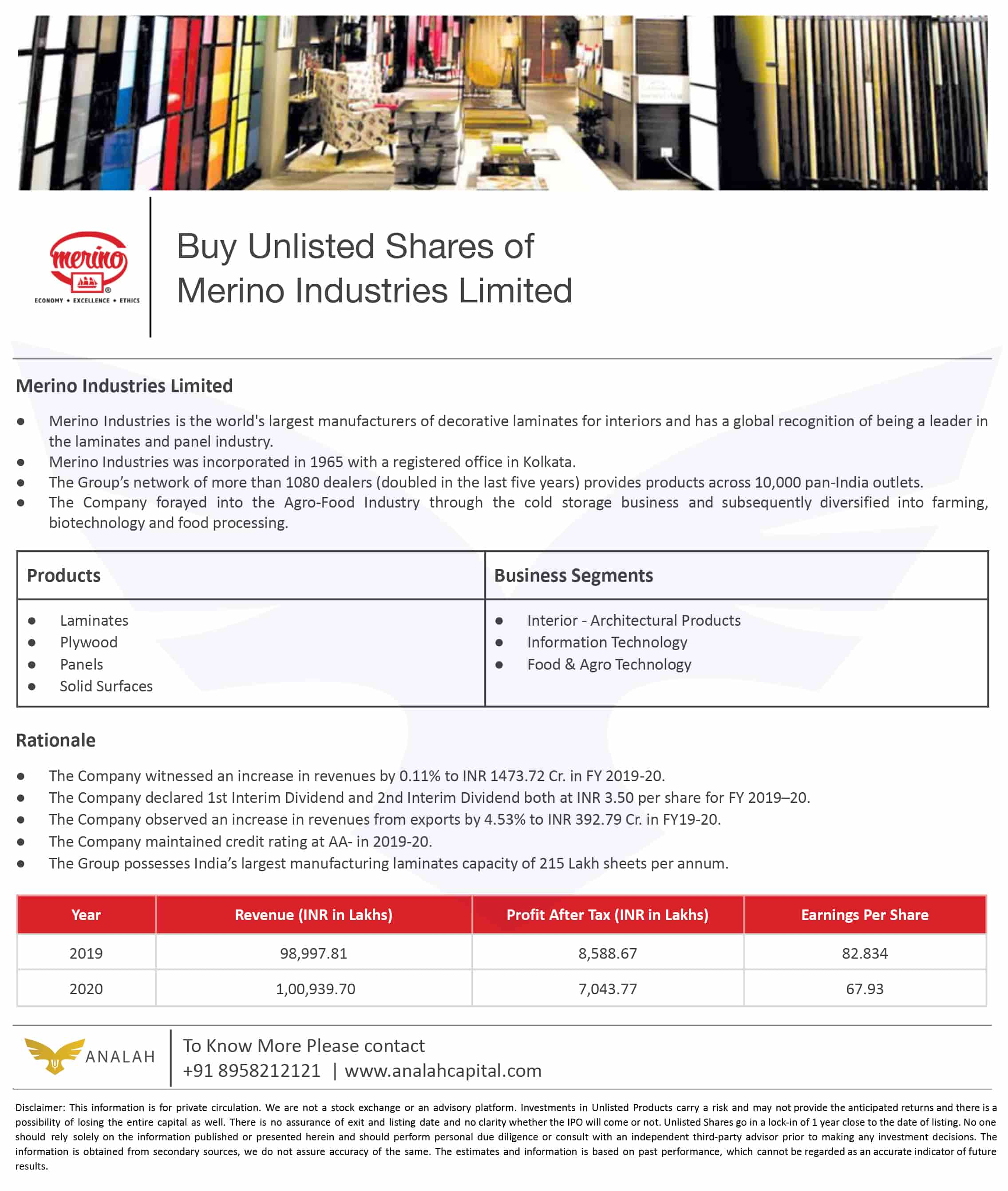 Merino Industries Unlisted Shares