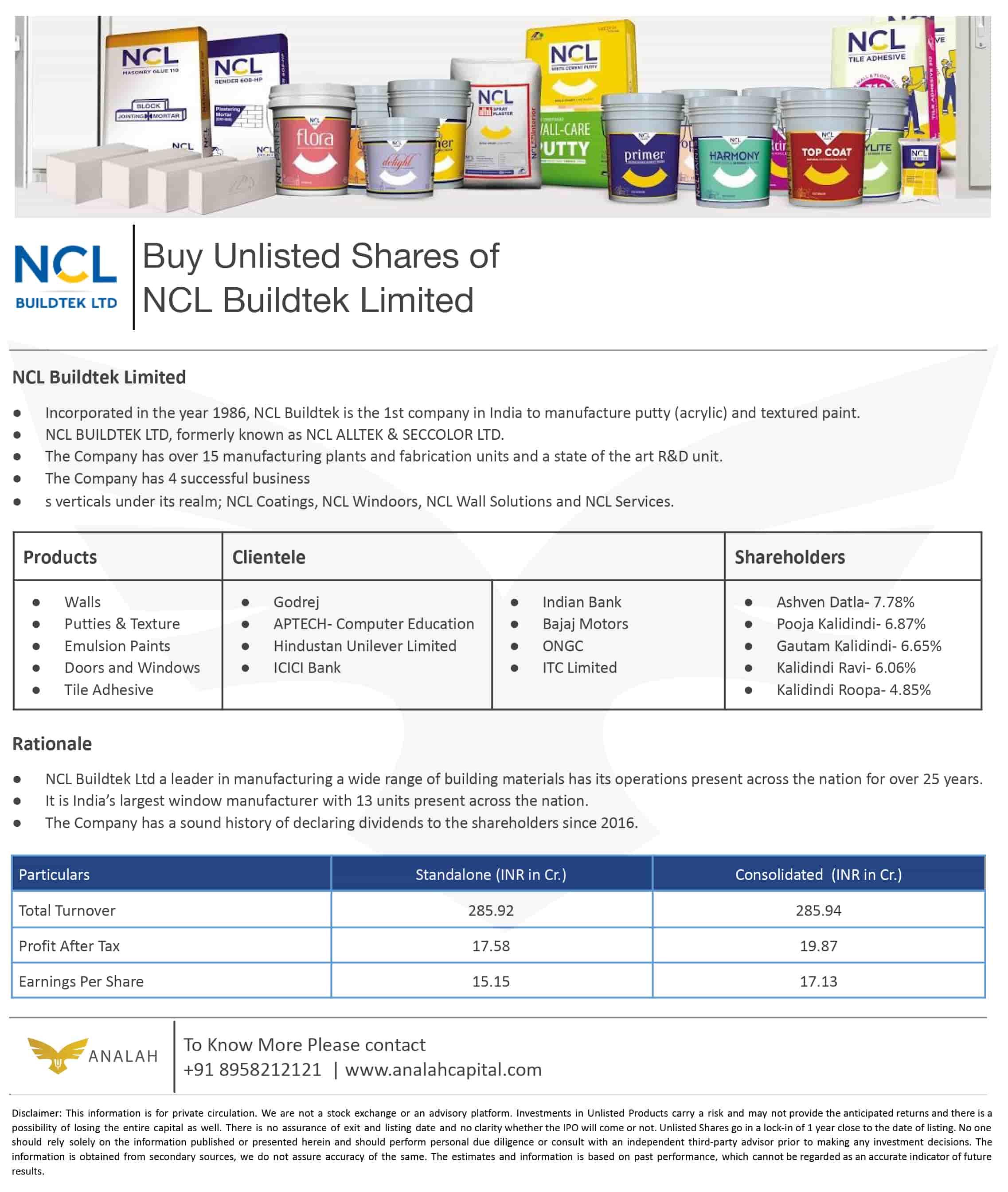 NCL BuildTek Unlisted Shares