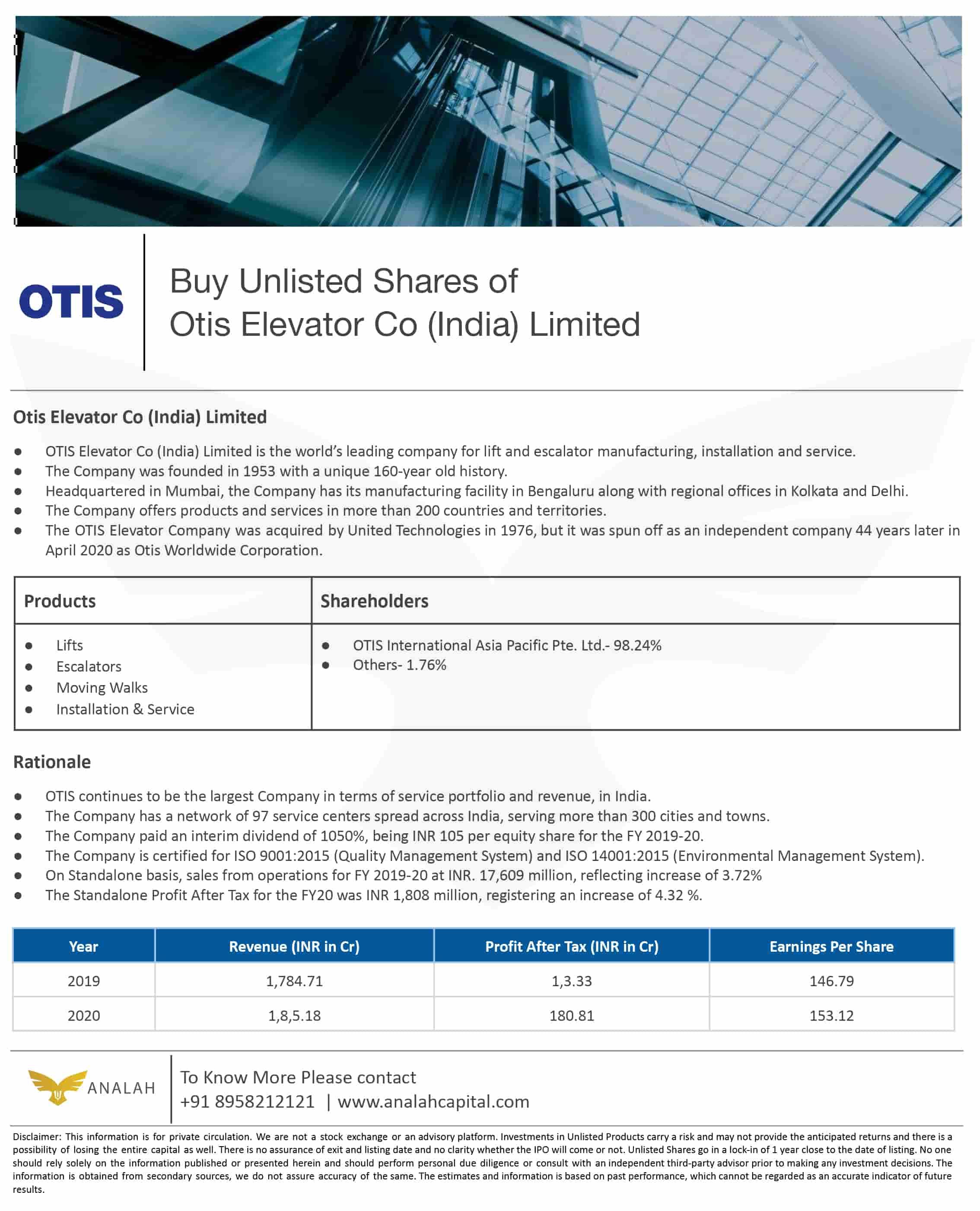 OTIS Elevators Unlisted Shares