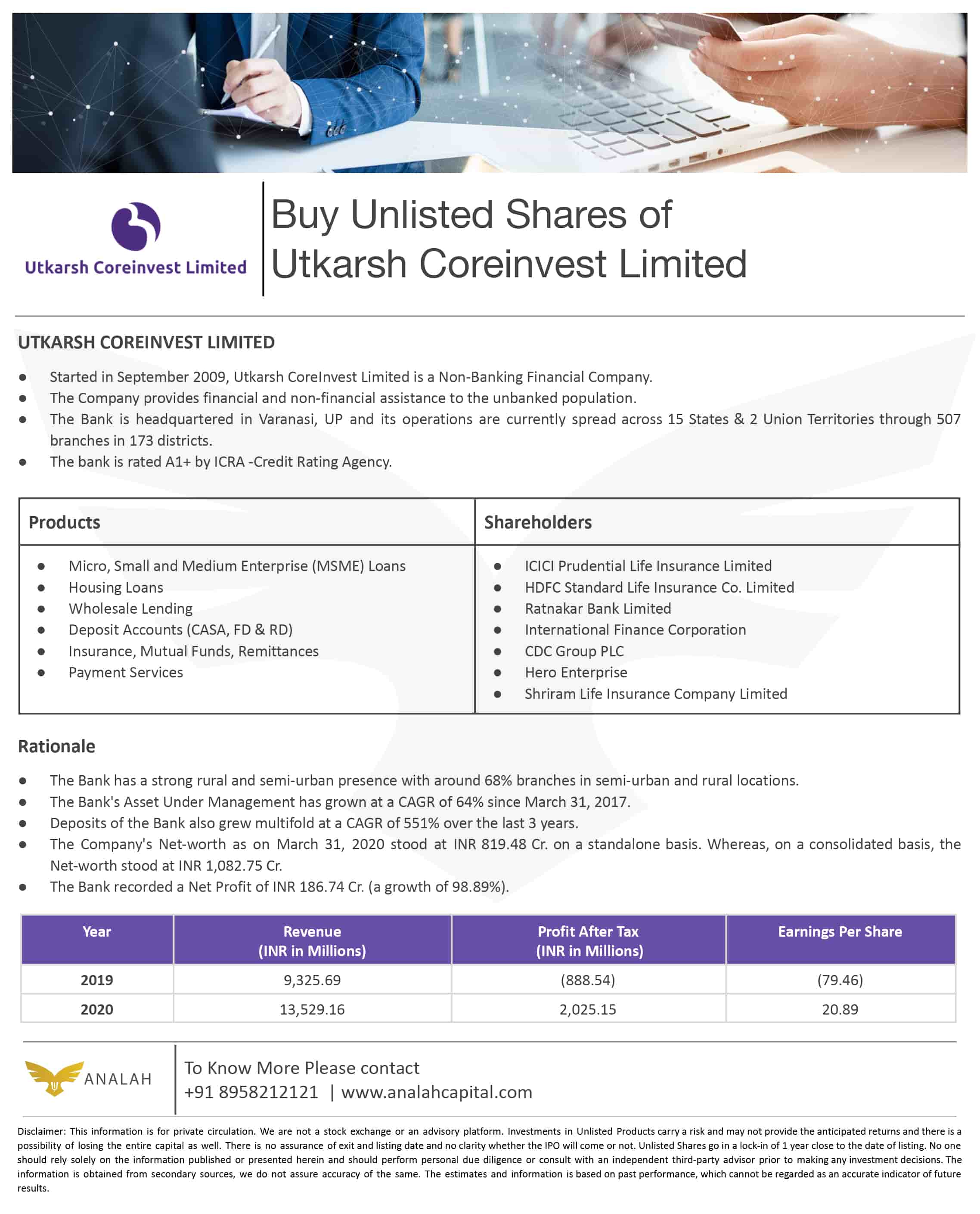Utkarsh CoreInvest Unlisted Shares
